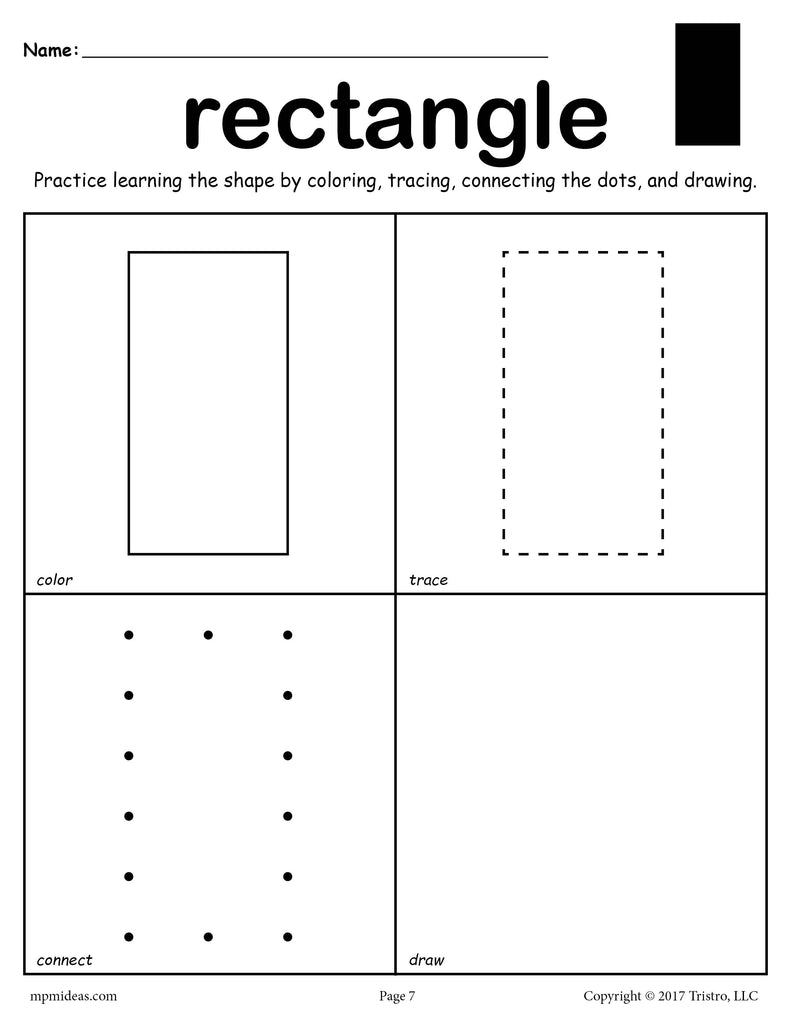 Learning Shapes Color Trace Draw Rectangle X on fall coloring math worksheet 1st grade