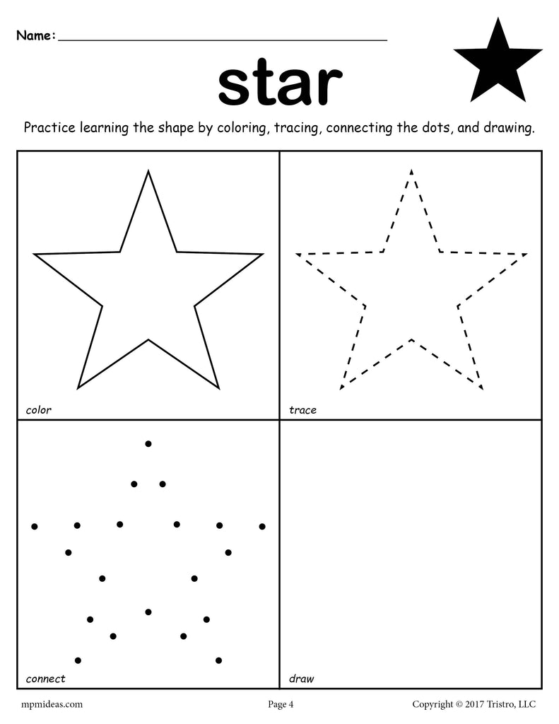 FREE Star Shape Worksheet: Color, Trace, Connect, & Draw!