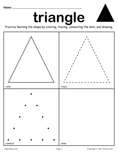 Triangle Worksheet - Color, Trace, Connect, & Draw! - SupplyMe