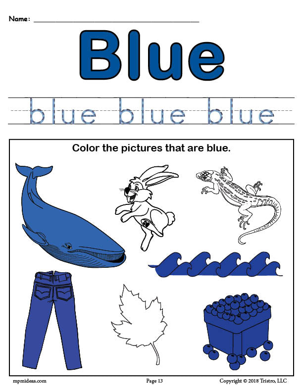 FREE Color Blue Worksheet