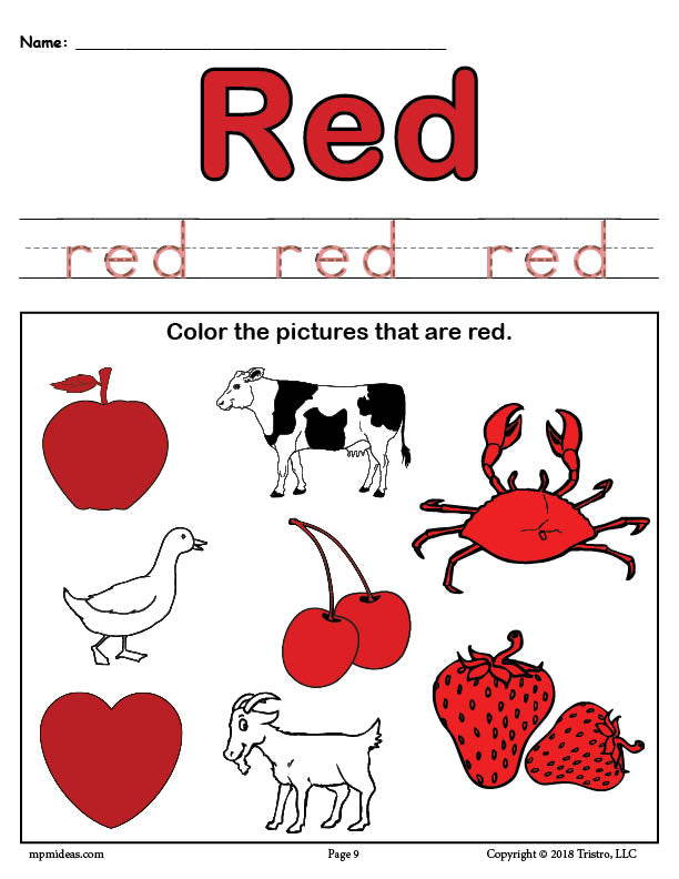 Free Color Red Worksheet Supplyme