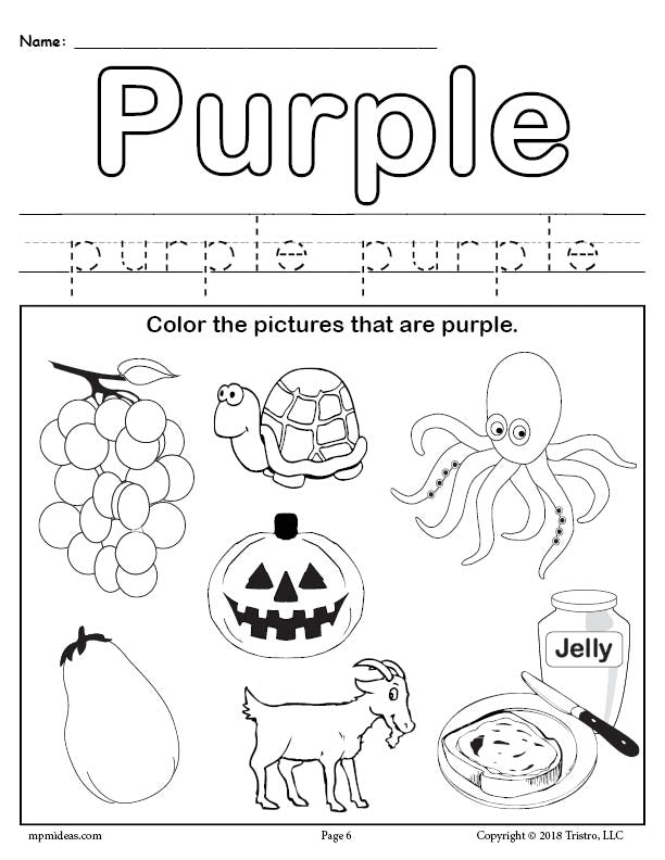 FREE Color Purple Worksheet