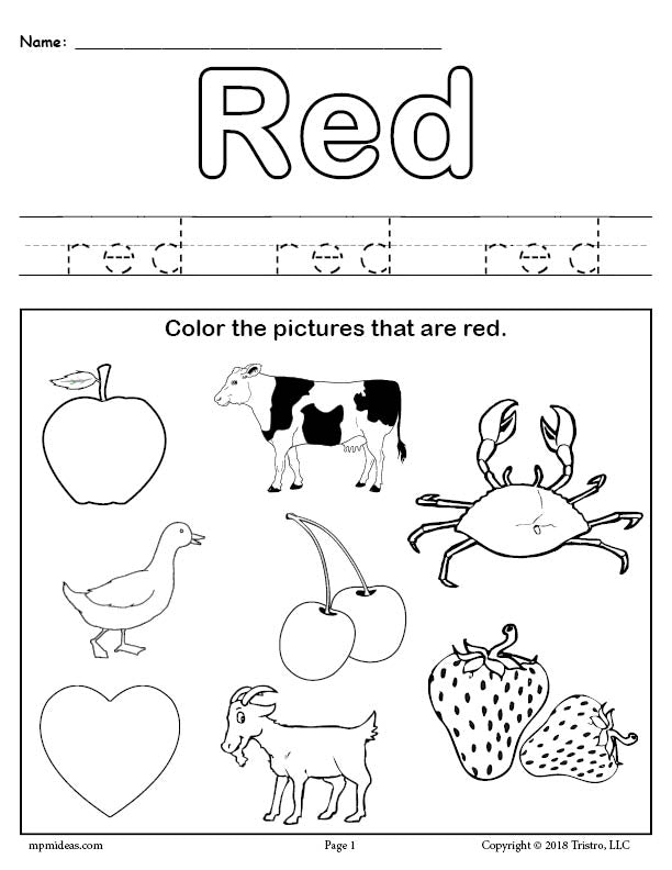 FREE Color Red Worksheet – SupplyMe