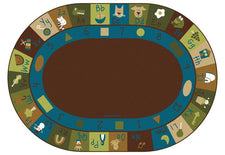 "Nature Learning Blocks Alphabet & Numbers Classroom Rug, 8'3"" x 11'8"" Oval"
