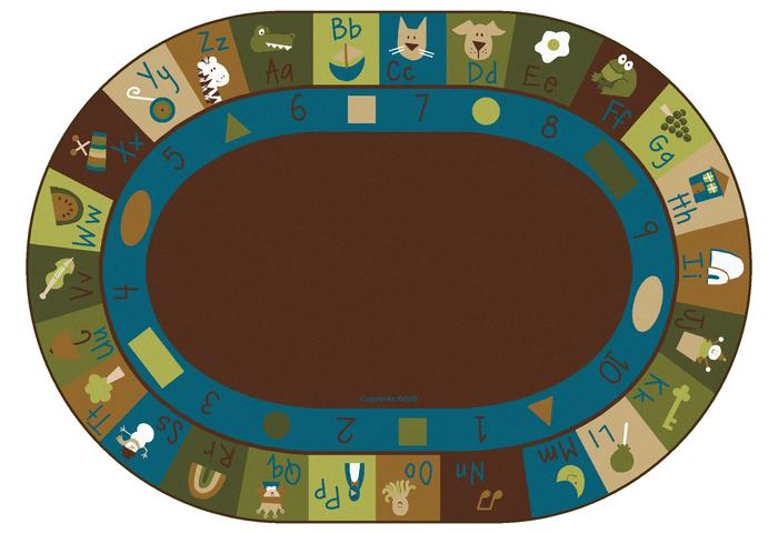 Nature Learning Blocks Alphabet & Numbers Classroom Rug, 6' x 9' Oval