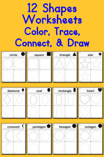 12 Shapes Worksheets: Color, Trace, Connect, & Draw!