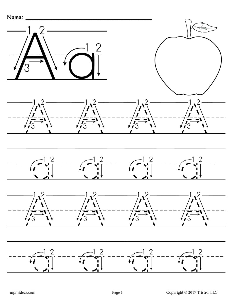 free printable letter a tracing worksheet with number and arrow guides supplyme. Black Bedroom Furniture Sets. Home Design Ideas