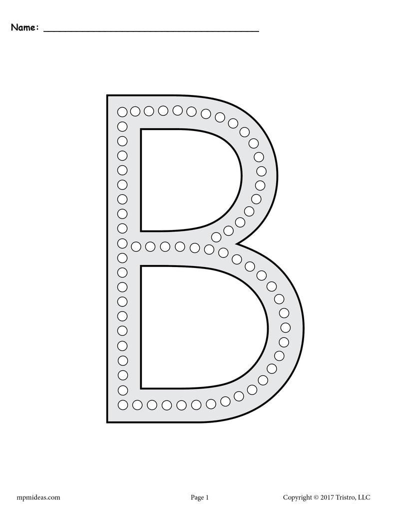 - Letter B Q-Tip Painting Printables - Includes Uppercase And