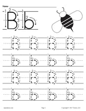 FREE Printable Letter B Tracing Worksheet With Number and Arrow Guides!
