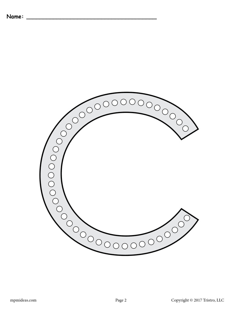 Free Letter C Q-tip Painting Printables