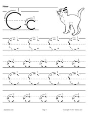 FREE Printable Letter C Tracing Worksheet With Number and Arrow Guides!