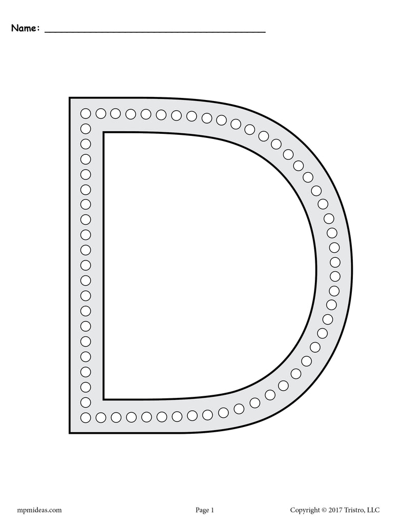 - Letter D Q-Tip Painting Printables - Includes Uppercase And