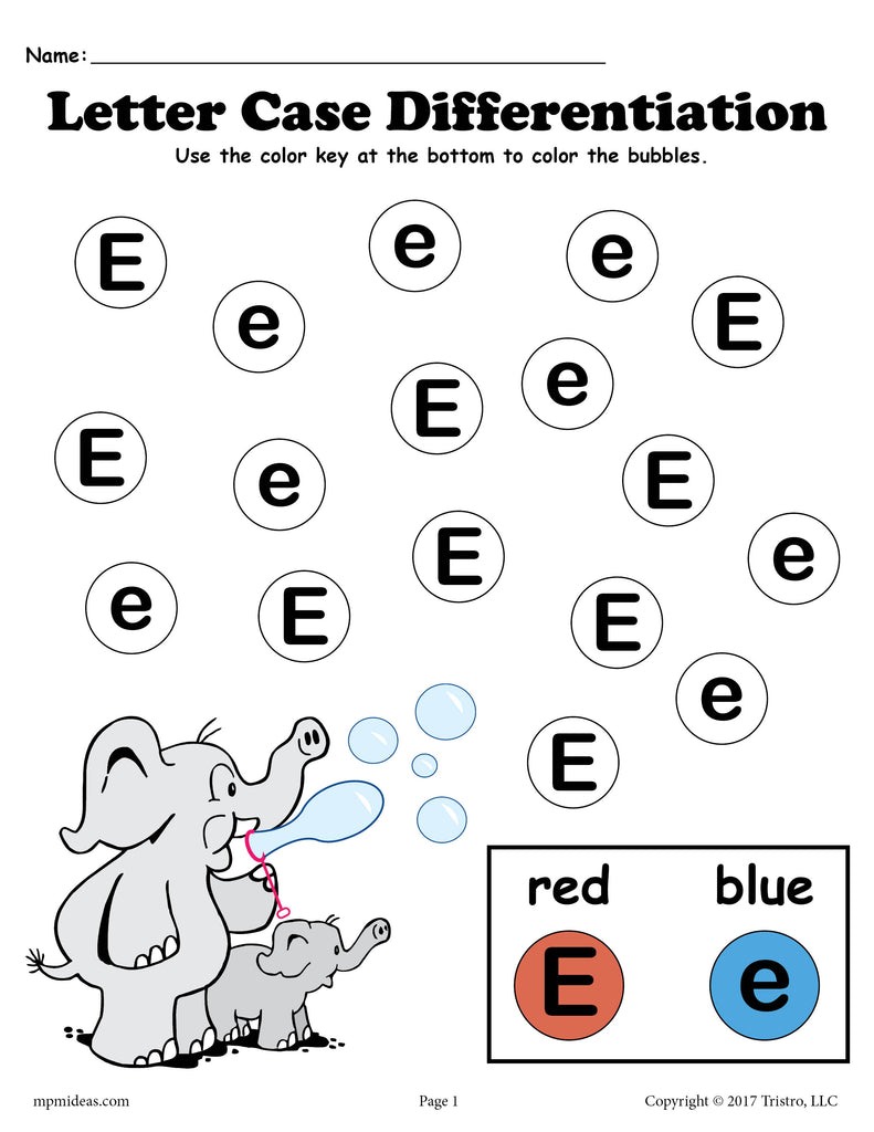 Letter E Do-A-Dot Printables For Letter Case