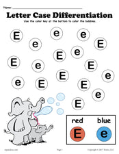 FREE Letter E Do-A-Dot Printables For Letter Case Differentiation Practice!