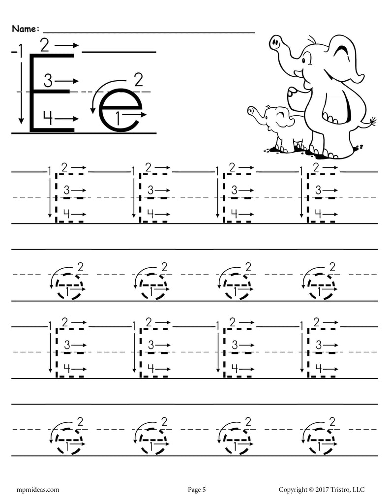 Printable Letter E Tracing Worksheet With Number And Arrow Guides Supplyme