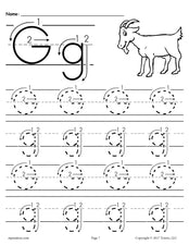 FREE Printable Letter G Tracing Worksheet With Number and Arrow Guides!