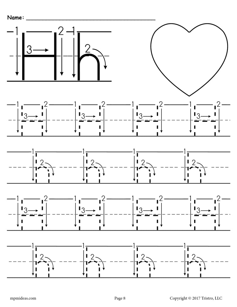 - Printable Letter H Tracing Worksheet With Number And Arrow Guides