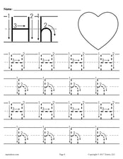 FREE Printable Letter H Tracing Worksheet With Number and Arrow Guides!