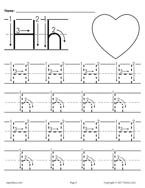 printable letter h tracing worksheet with number and arrow. Black Bedroom Furniture Sets. Home Design Ideas