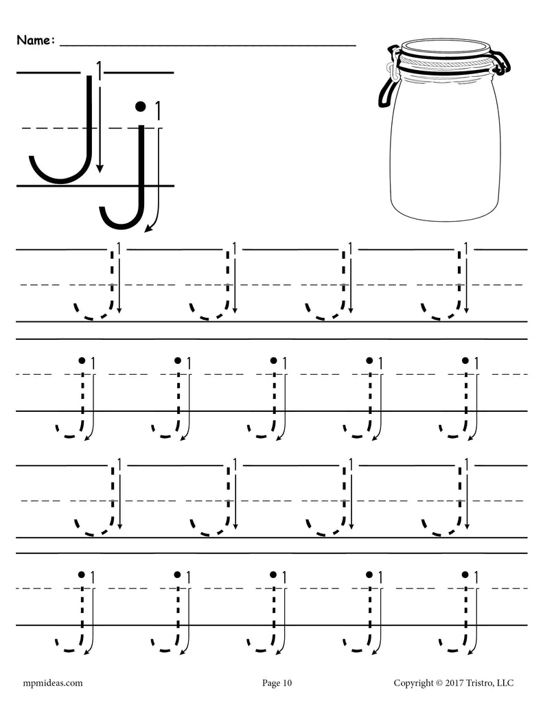picture relating to Printable Guides titled Absolutely free Printable Letter J Tracing Worksheet With Selection and