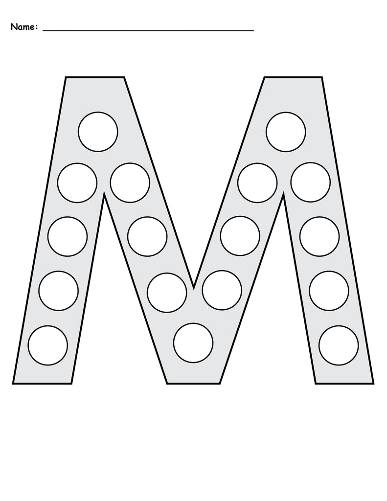 free letter m do a dot printables uppercase lowercase supplyme. Black Bedroom Furniture Sets. Home Design Ideas
