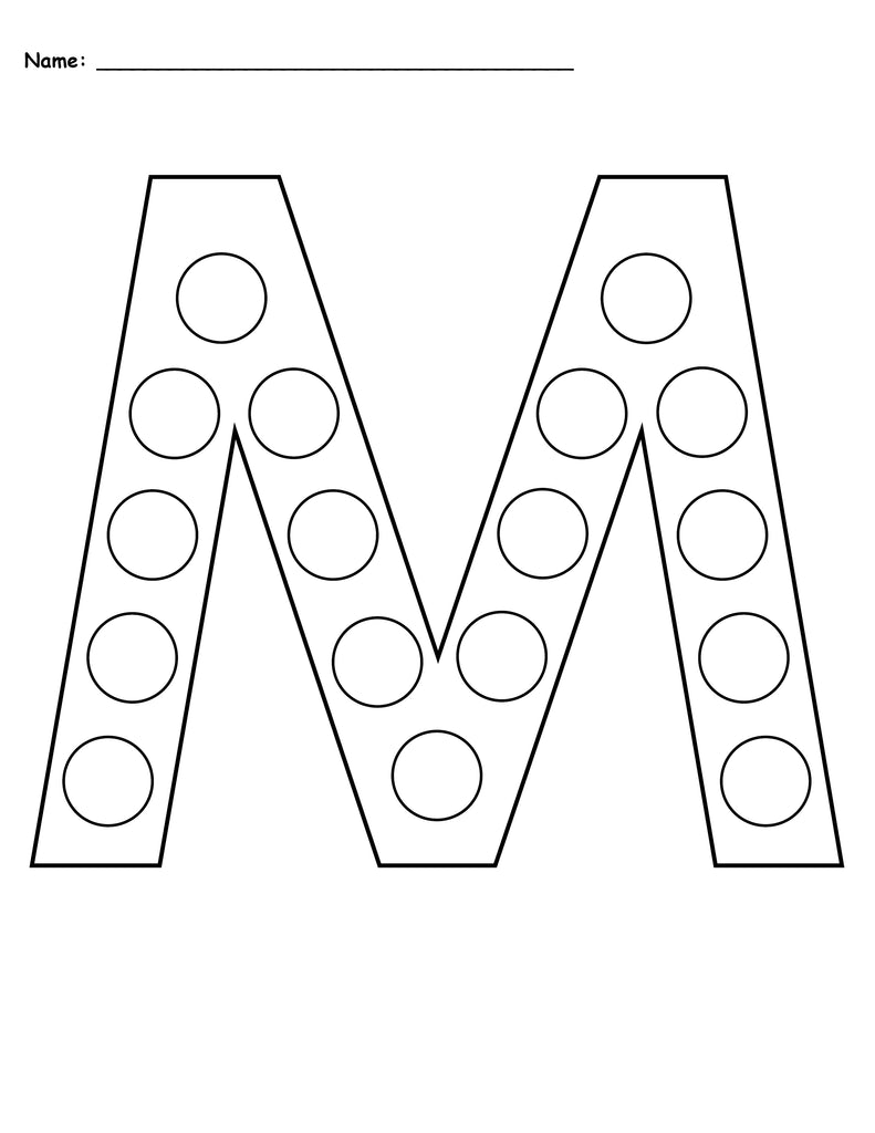 picture regarding Printable M identified as Totally free Letter M Do-A-Dot Printables - Uppercase Lowercase