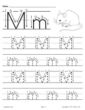 FREE Printable Letter M Tracing Worksheet With Number and Arrow Guides!