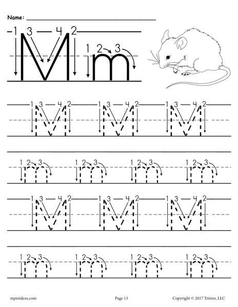 free printable letter m tracing worksheet with number and arrow guides supplyme. Black Bedroom Furniture Sets. Home Design Ideas