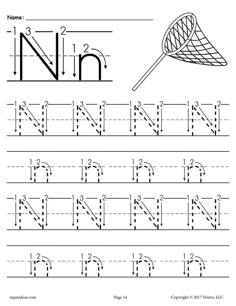 FREE Printable Letter N Tracing Worksheet With Number and Arrow