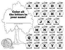 """Find The Letters In My Name"" Apple Themed Letter Recognition Worksheets"