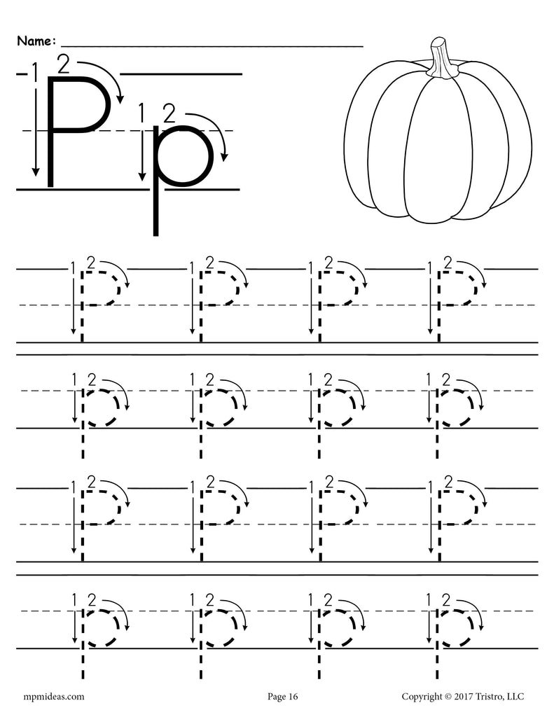 Printable Letter P Tracing Worksheet With Number and Arrow ...