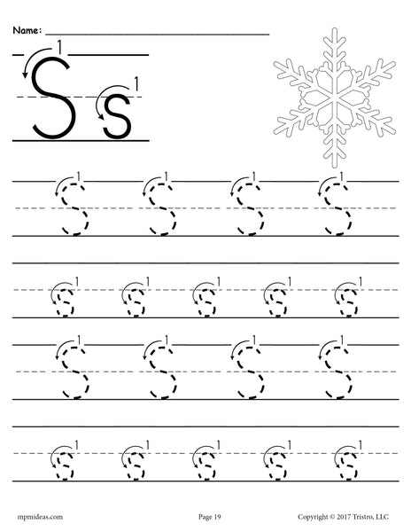 Printable Letter S Tracing Worksheet With Number and Arrow ...