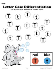 FREE Letter T Do-A-Dot Printables For Letter Case Differentiation Practice!