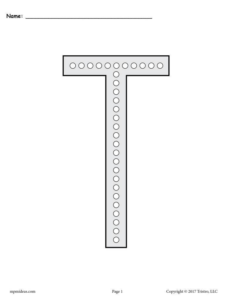 Free Letter T Q Tip Painting Printables Includes