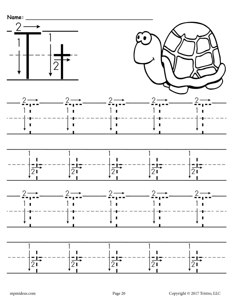 FREE Printable Letter T Tracing Worksheet With Number and ...