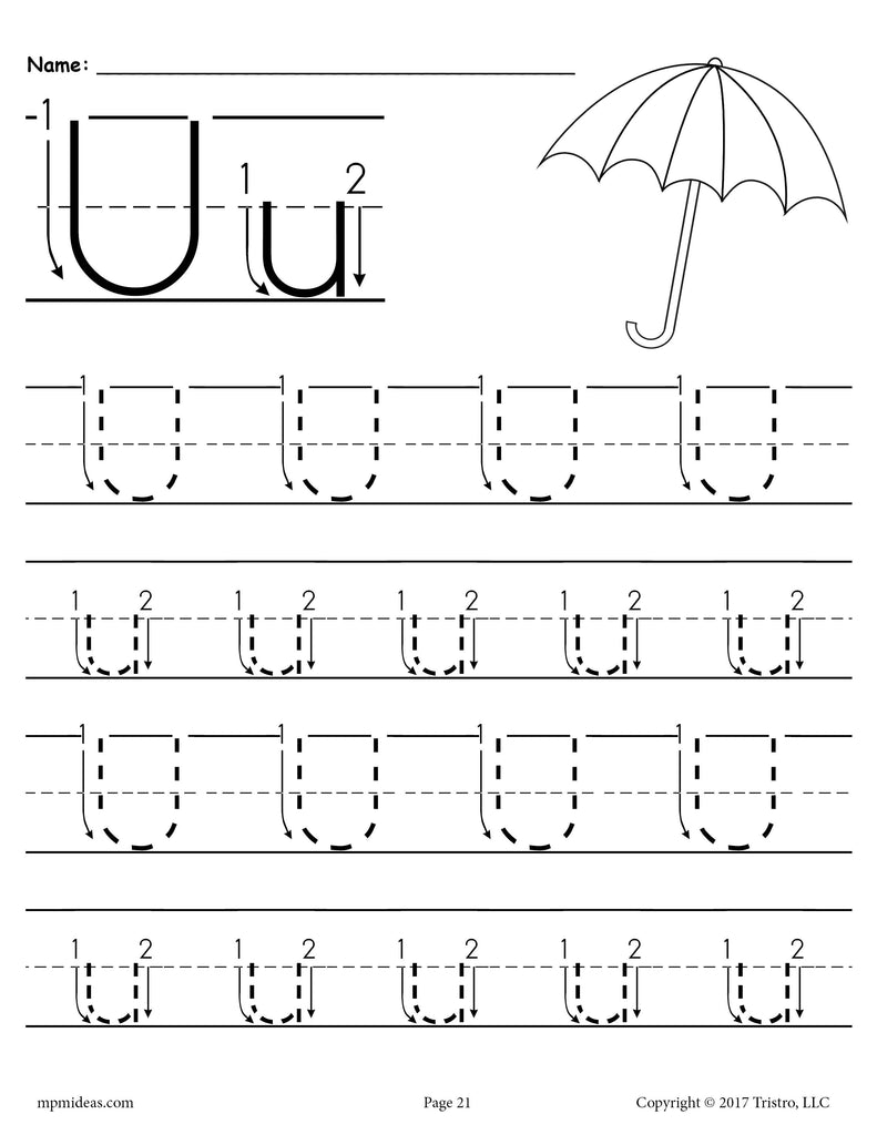 Printable Letter U Tracing Worksheet With Number and Arrow ...