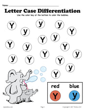 FREE Letter Y Do-A-Dot Printables For Letter Case Differentiation Practice!