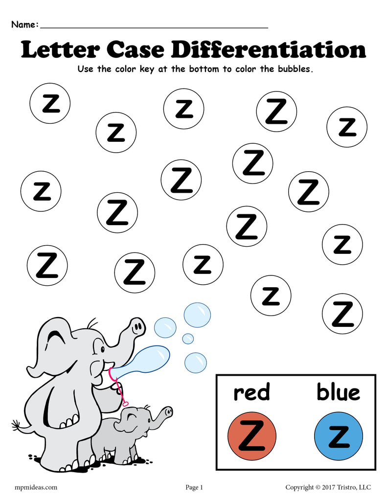 Letter Z Do-A-Dot Printables For Letter Case