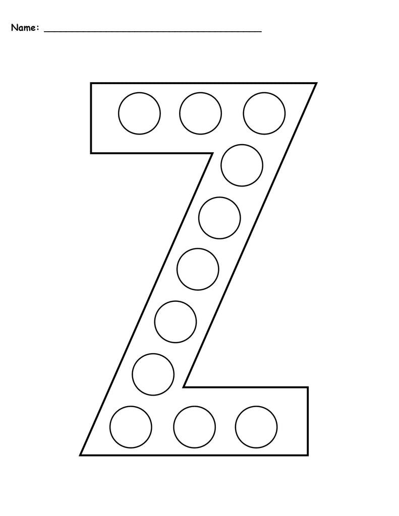 photo regarding Letter Z Printable called No cost Letter Z Do-A-Dot Printables - Uppercase Lowercase