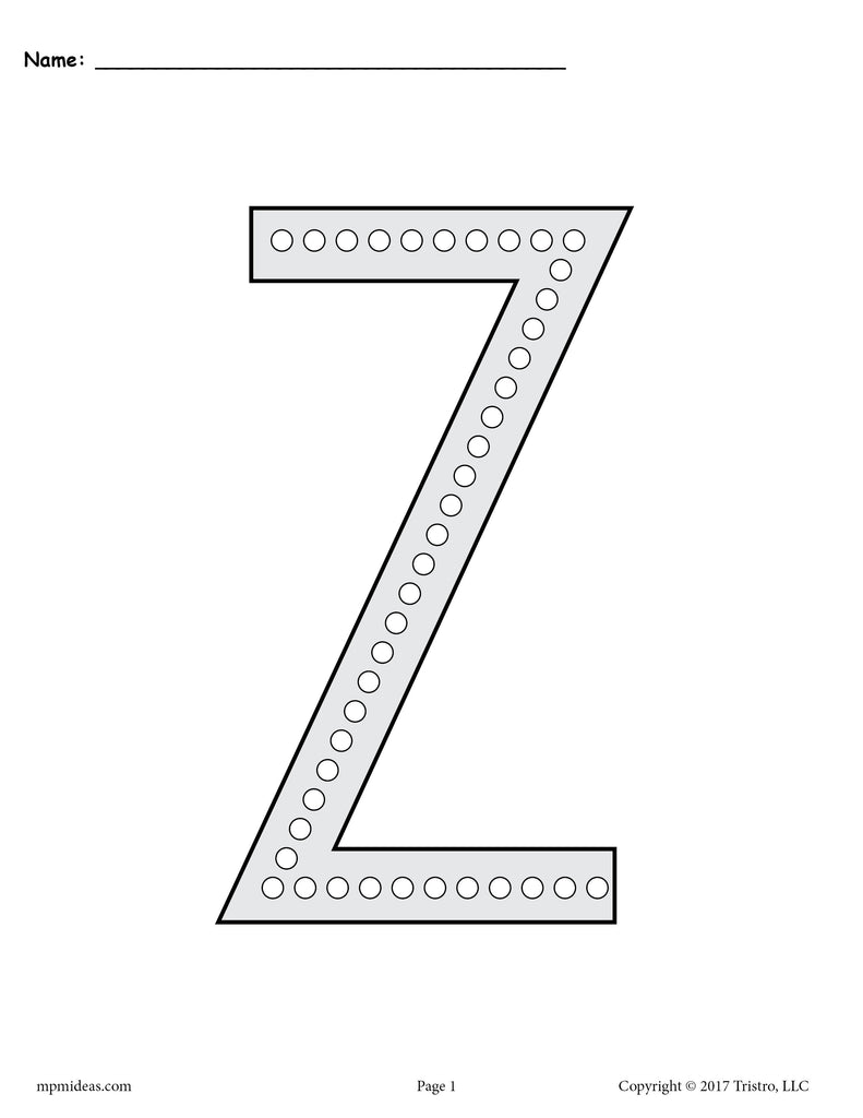 FREE Letter Z Q Tip Painting Printables   Includes Uppercase And Lowercase Letter  Z Worksheets