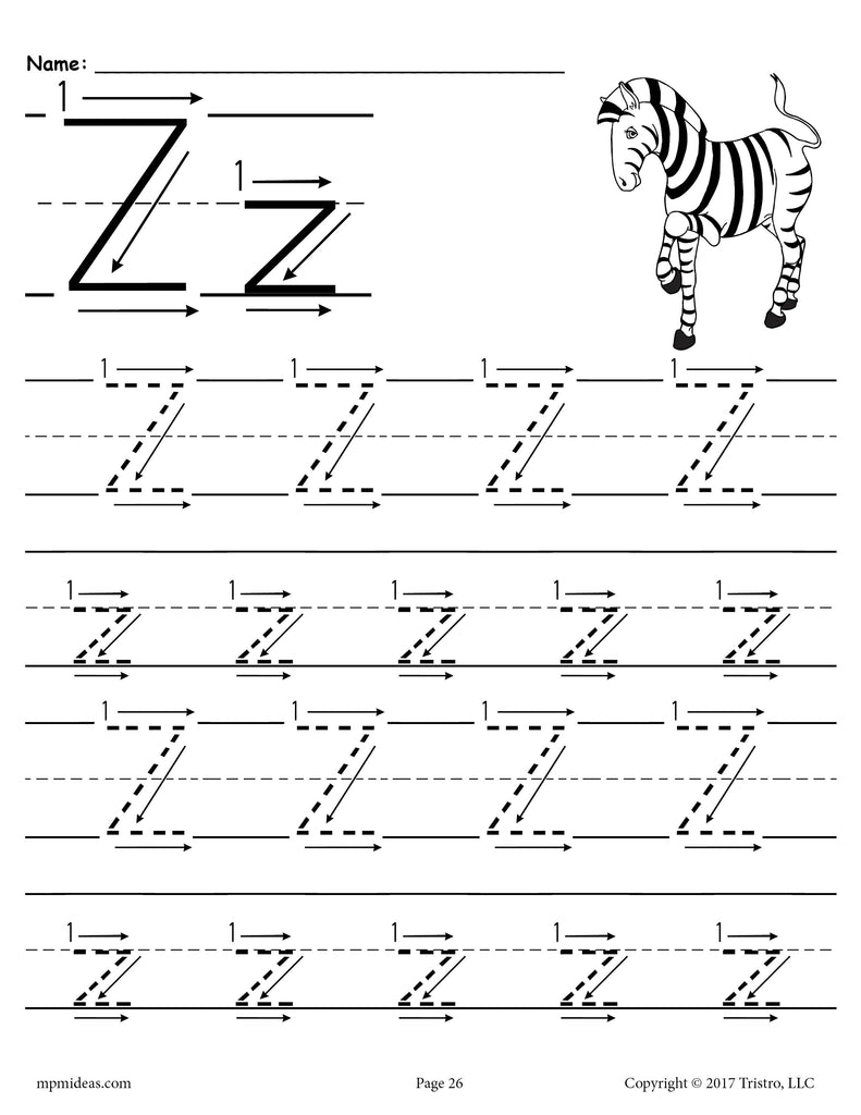 Free Printable Letter Z Tracing Worksheet With Number And