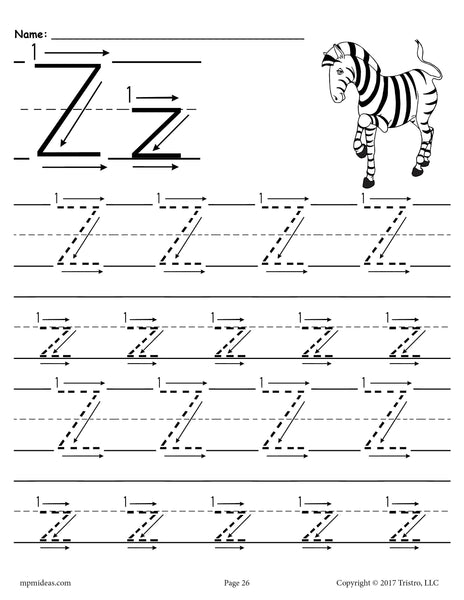 free printable letter z tracing worksheet with number and. Black Bedroom Furniture Sets. Home Design Ideas