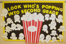 """Look Who's Poppin'!"" Welcome Back-to-School Popcorn Bulletin Board Idea"