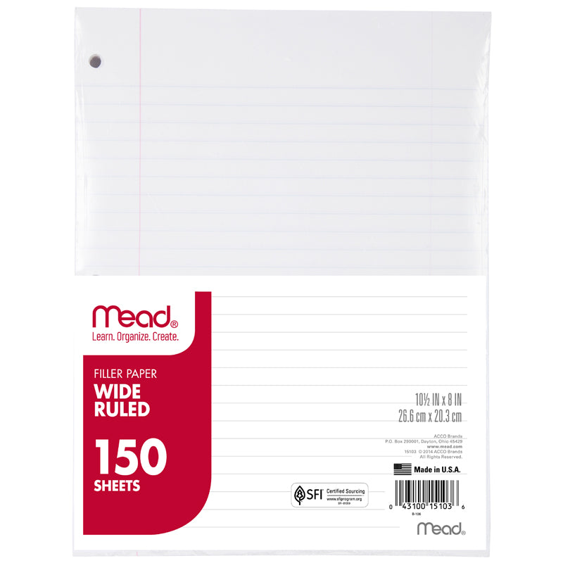 Mead Notebook Paper Wide Ruled 150 Count