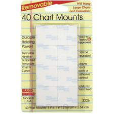 Magic Mounts Chart Mounts, 1In x 1In, Pack Of 40
