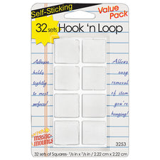 "Hook 'n Loop 7/8"" Squares, 32 Sets"