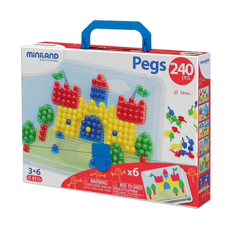 "3/8"" Pegs with Pegboard, 240 Pieces"