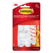 3M Adhesive & Reusable 3Lb. Command Hooks, 2 Pk