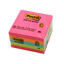 Pop-Up Notes 3 x 3 100 Sheets/Pk 5Pd/Pk Neon