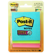 Super Sticky Notes, Assorted Neon, 3Pk